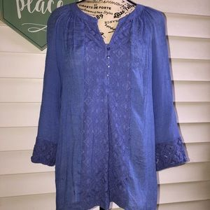 New Directions Blue 3/4 Sleeve Blouse Large